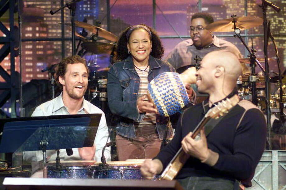 Matthew McConaughey played his signature bongos during an appearance on the show with host Jay Leno on April 4, 2005. Photo: NBC, Getty Images / 2005 NBC