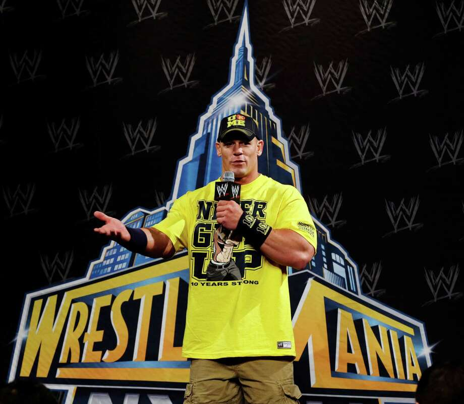 John Cena answers a question during a news conference before last year's WWE Wrestlemania 29 in East Rutherford, N.J. (AP Photo/Mel Evans) Photo: Mel Evans, Associated Press / Stamford Advocate Contributed