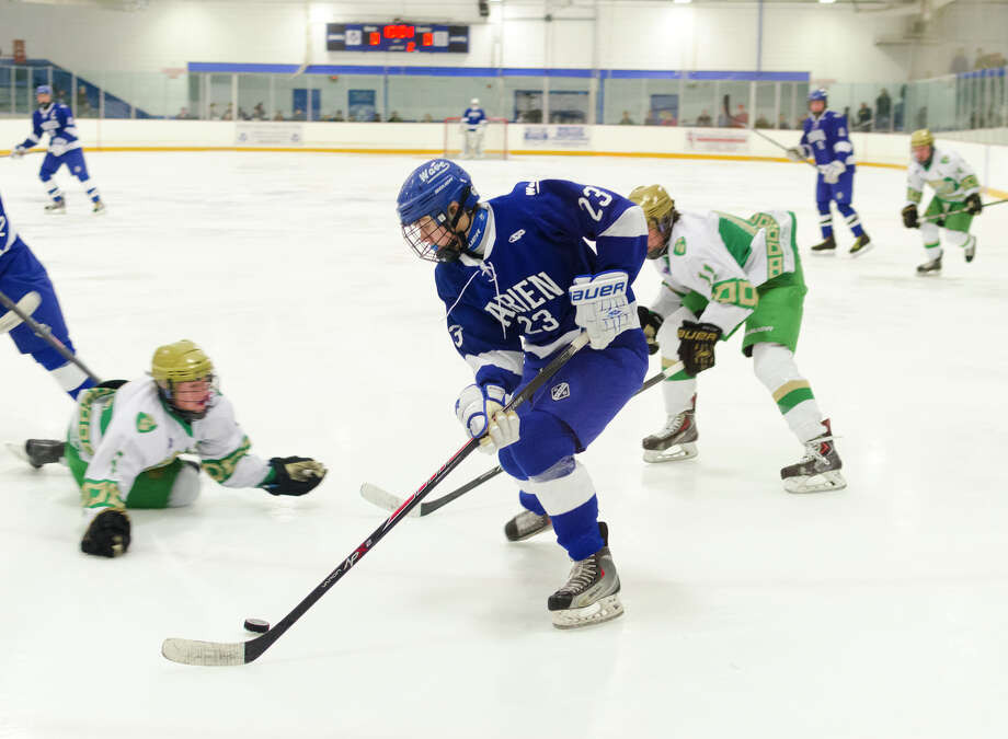 Darien vs. Notre Dame West Haven boys ice hockey game at Bennett Skating Rink in West Haven on Monday, Feb. 17, 2014. Photo: Amy Mortensen / Connecticut Post Freelance