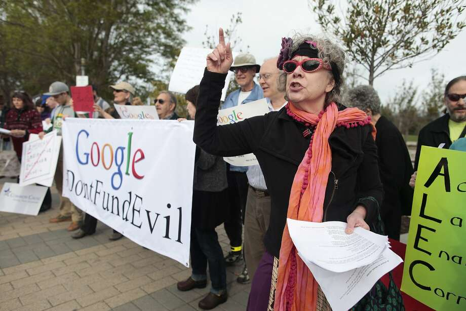 Ruth Robertson of the Raging Grannies joins a protest of Google's support of ALEC at the tech giant's Mountain View headquarters. Photo: James Tensuan, Special To The Chronicle