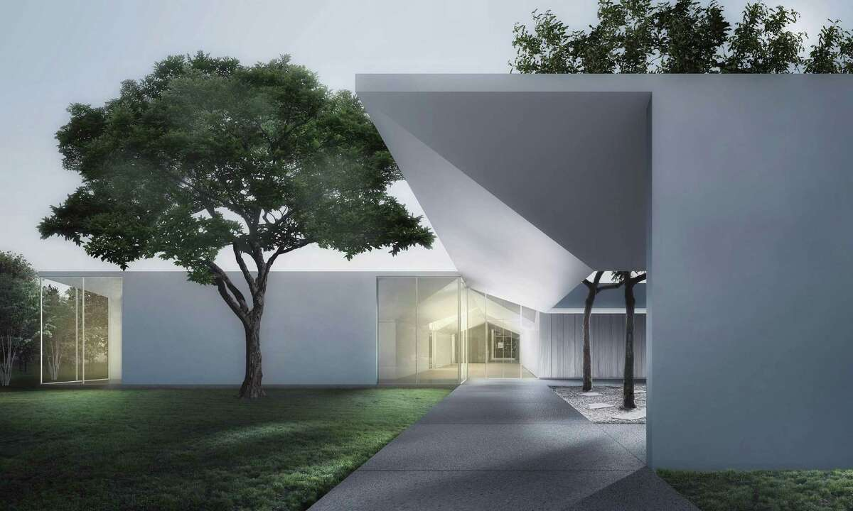 Although it's designed to protect extremely delicate works on paper, a rendering of the west-side exterior of the Menil Drawing Institute by the Los Angeles architectural firm Johnston Marklee shows the building's defining features, including a revolutionary roof and abundant natural light in public spaces.
