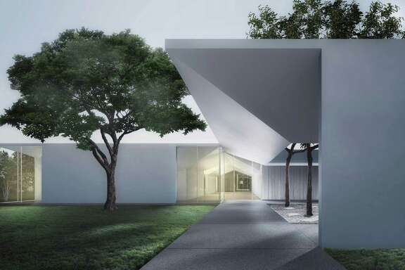 The roof of the Menil Drawing Institute, shown in an architectural illustration, is designed to protect delicate works on paper.
