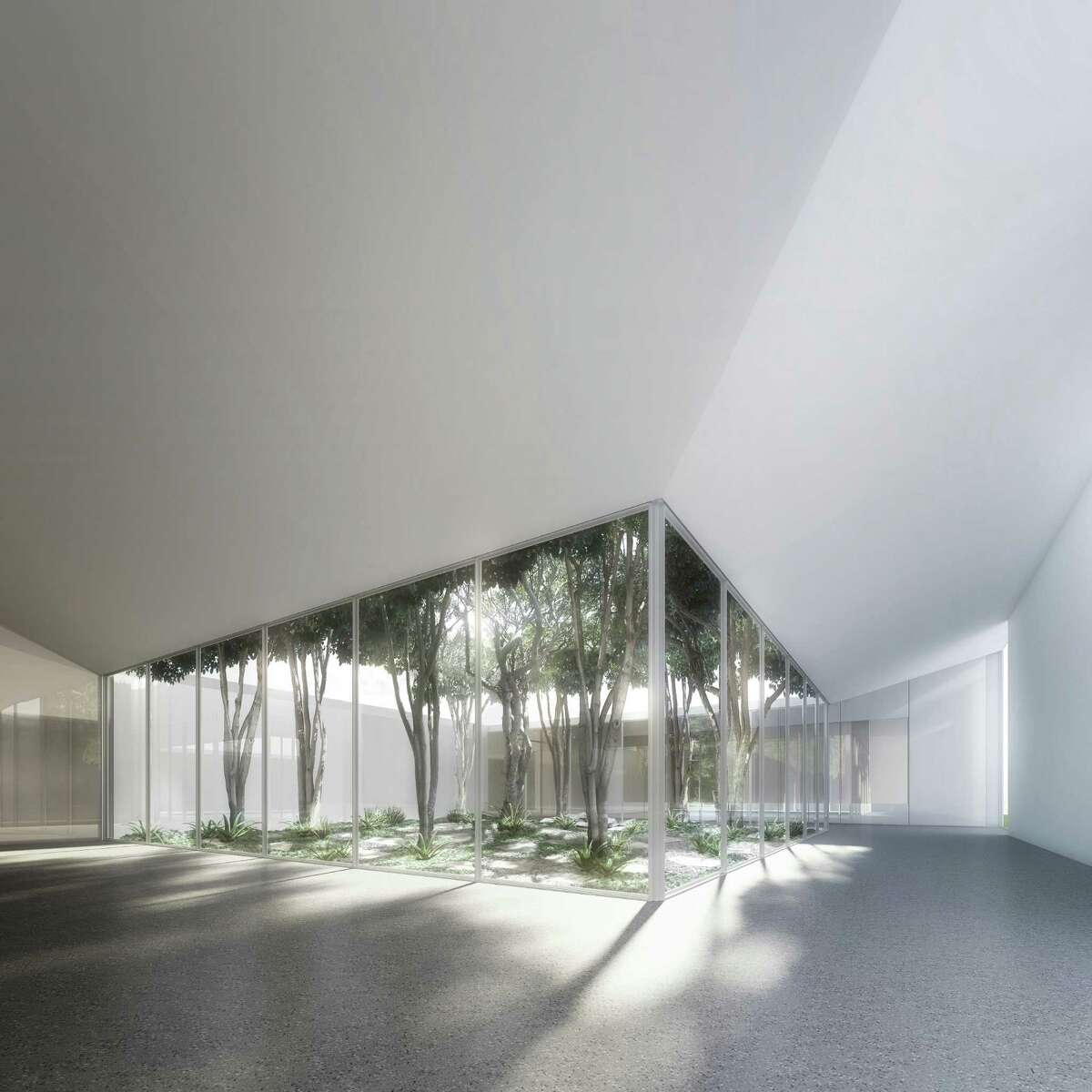 The Scholar Courtyard of the Menil Drawing Institute, designed by the Los Angeles architectural firm Johnston Marklee.
