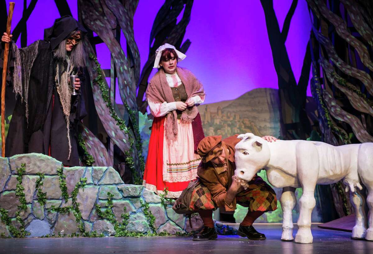 Megan De Young (from left), Amanda Golden and Ben Scharff appear in the Woodlawn Theatre's staging of