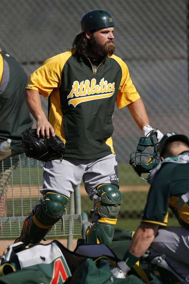 A's catcher Derek Norris, (36) gears up for practice at the Papago Baseball Facility in Phoenix, Arizona on Tuesday Feb. 18,  2014. Major League Baseball's Oakland Athletics continue their spring training in the Arizona Desert in preparation for the upcoming season. Photo: The Chronicle