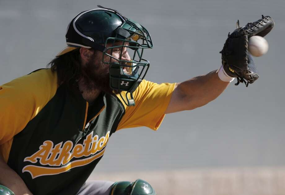 A's catcher Derek Norris, (36) during practice drills at the Papago Baseball Facility in Phoenix, Arizona on Tuesday Feb. 18,  2014. Major League Baseball's Oakland Athletics continue their spring training in the Arizona Desert in preparation for the upcoming season. Photo: The Chronicle