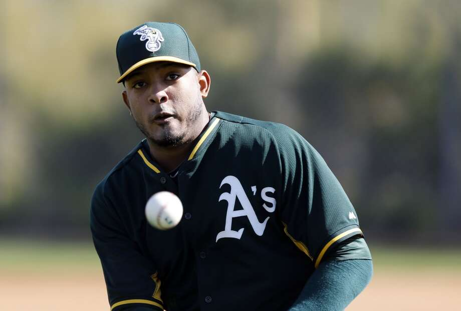 A's pitcher Fernando Abad, (56)  during practice drills at the Papago Baseball Facility in Phoenix, Arizona on Tuesday Feb. 18,  2014. Major League Baseball's Oakland Athletics continue their spring training in the Arizona Desert in preparation for the upcoming season. Photo: The Chronicle