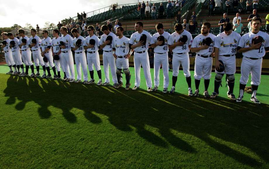 The Rice Owls line up for the National Anthem during their home season opener against Texas State at Reckling Park on Tuesday, Feb. 18, 2014, in Houston. Photo: J. Patric Schneider, For The Chronicle / © 2014 Houston Chronicle