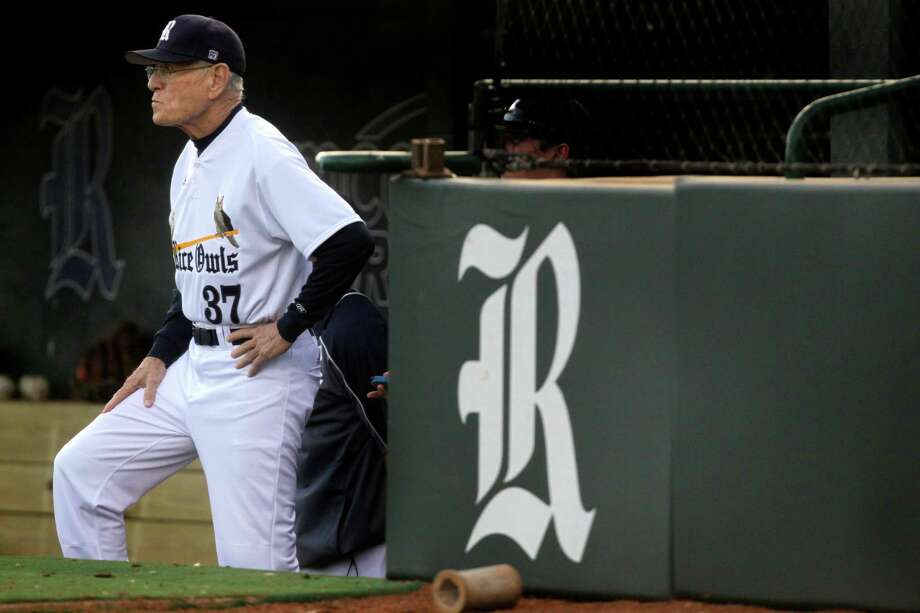 Rice head coach Wayne Graham watches from the dugout during a NCAA baseball game against Texas State at Reckling Park on Tuesday, Feb. 18, 2014, in Houston. Photo: J. Patric Schneider, For The Chronicle / © 2014 Houston Chronicle