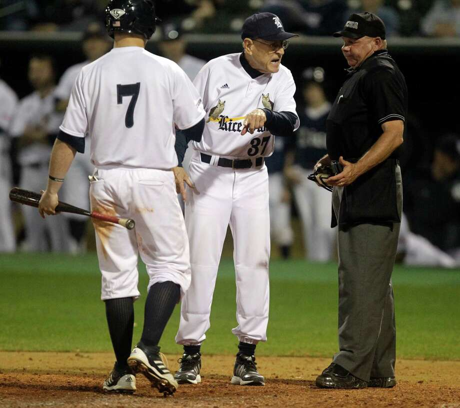 Rice head coach Wayne Graham argues a call with home plate umpire Greg Oros during the eight inning of a NCAA baseball game against Texas State at Reckling Park on Tuesday, Feb. 18, 2014, in Houston. Photo: J. Patric Schneider, For The Chronicle / © 2014 Houston Chronicle