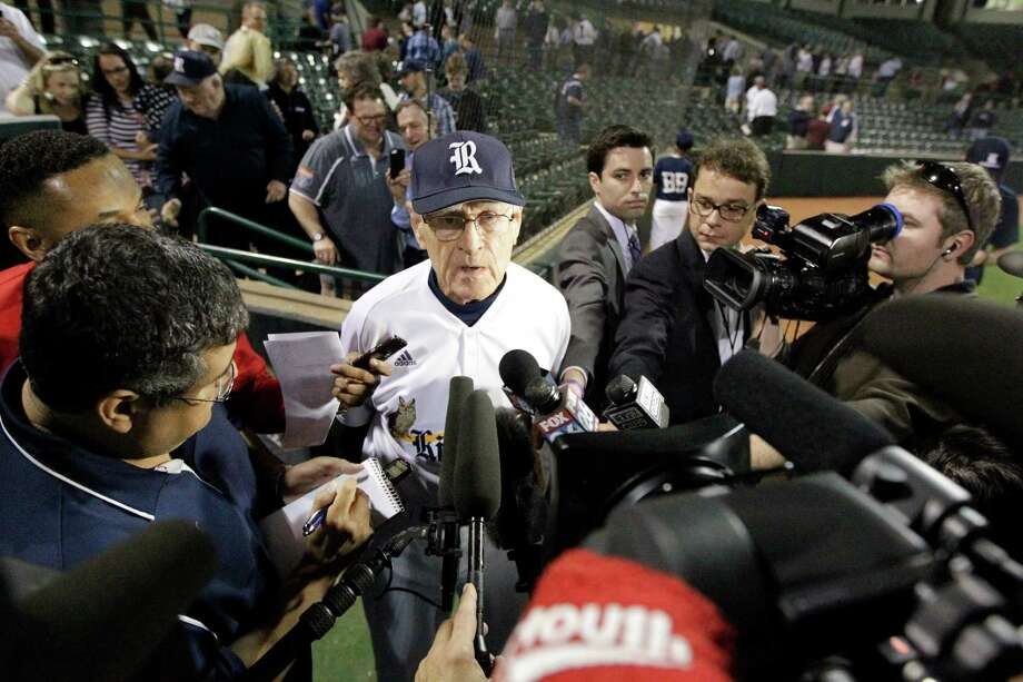 Rice head coach Wayne Graham talks to the media after receiving his 1000th career win during a NCAA baseball game against Texas State at Reckling Park on Tuesday, Feb. 18, 2014, in Houston. Photo: J. Patric Schneider, For The Chronicle / © 2014 Houston Chronicle
