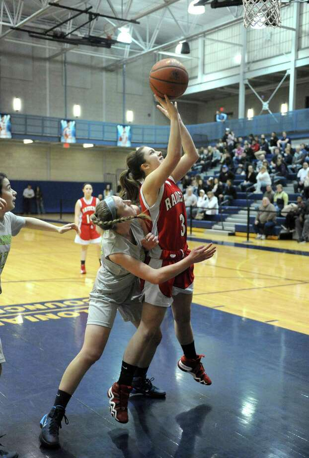 Mechanicville's Kristin Bazar goes in for a score during their Class B girl's basketball game against Cohoes on Tuesday Feb. 18, 2014 in Cohoes, N.Y. (Michael P. Farrell/Times Union) Photo: Michael P. Farrell / 00025798A