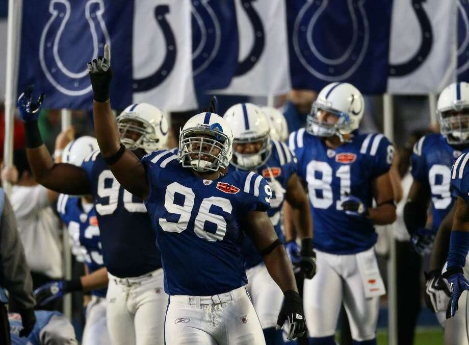 MIAMI GARDENS, FL - FEBRUARY 07: Defensive tackle Keyunta Dawson #96 of the Indianapolis Colts leads the team onto the field prior to Super Bowl XLIV against the New Orleans Saints on February 7, 2010 at Sun Life Stadium in Miami Gardens, Florida.  (Photo by Win McNamee/Getty Images) *** Local Caption *** Keyunta Dawson Photo: Win McNamee, Getty Images / 2010 Getty Images