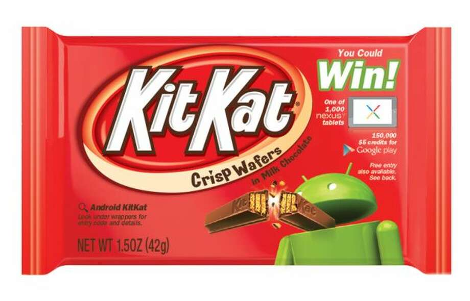 The Kit Kat label for The Hershey Company featuring Android's green robot mascot breaking a Kit Kat. Google named its new Android operating system after the chocolate bar. (AP Photo/The Hershey Company). Photo: Uncredited, Associated Press