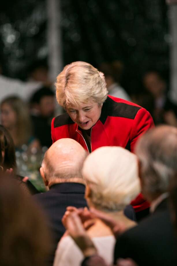 Mayor Annise Parker congratulates honoree Ed Wulfe Photo: Laurie Perez