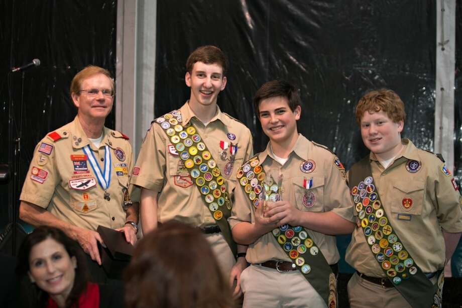Ben Royce, from the left, Will Pfieffer, Welcome Wilson III, and Justice Robertson, Ima Hogg Award winners from Boy Scout Troop 354 Photo: Laurie Perez
