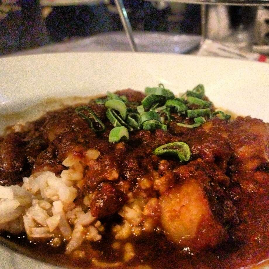 Shrimp etouffee is served in a bowl for $5 Tuesday nights at Lüke. Photo: BENJAMIN OLIVO, MySA.com