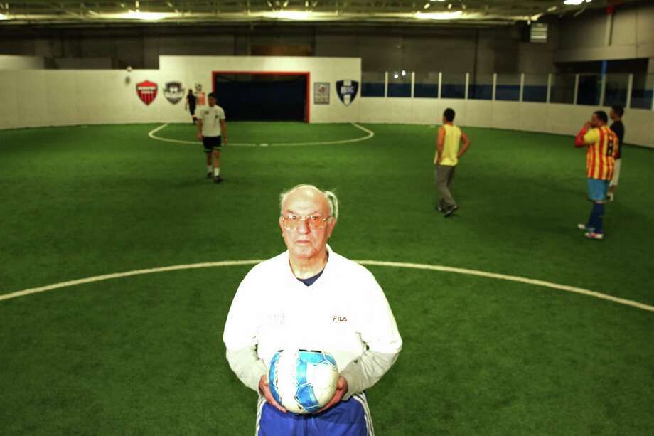 Soccer Hall of Famer Chico Chacurian poses for a photo at Goal Sports in Stratford, CT. Chacurian is celebrating his 90th birthday later this month; he still plays soccer every Tuesday night with the Stratford Soccer Coaches Association. Photo: Mike Ross / Mike Ross Connecticut Post freelance - @www.mikerossphoto.com