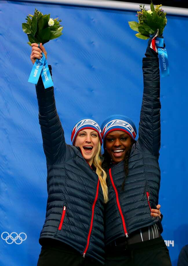 Jamie Greubel, left, and Aja EvansMedal: BronzeDiscipline: BobsledEvent: Women's 2-man bobsled Photo: Alex Livesey, Getty Images