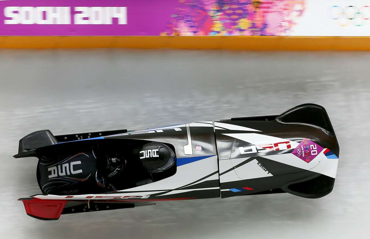 Elana Meyers and Lauryn Williams of the United States team 1 make a run during the Women's Bobsleigh on Day 12 of the Sochi 2014 Winter Olympics at Sliding Center Sanki on February 19, 2014 in Sochi, Russia.
