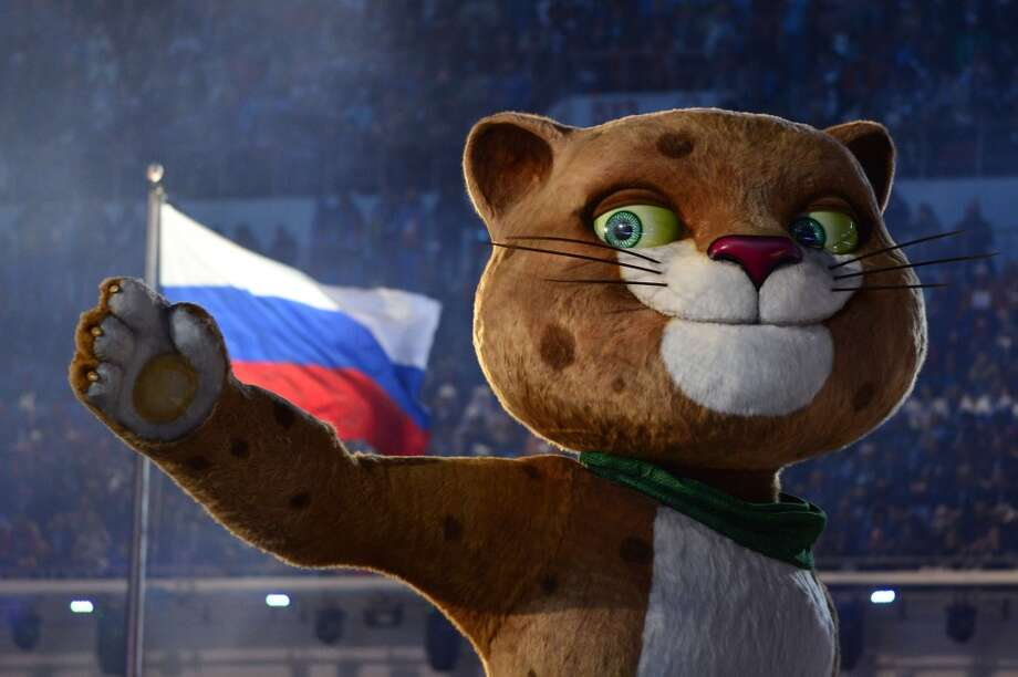 The Leopard, one of the 2014 Sochi Winter Olympics mascots, is presented during the opening ceremony at the Fisht Olympic Stadium on February 7, 2014 in Sochi. Photo: JOHN MACDOUGALL, AFP/Getty Images