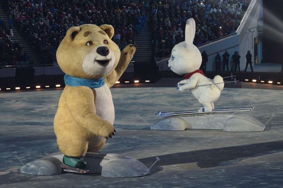 The Sochi Winter Olympic games official mascots, the Polar Bear, and the Hare perform during the Opening Ceremony of the Sochi Winter Olympics at the Fisht Olympic Stadium on February 7, 2014 in Sochi. Photo: JONATHAN NACKSTRAND, AFP/Getty Images