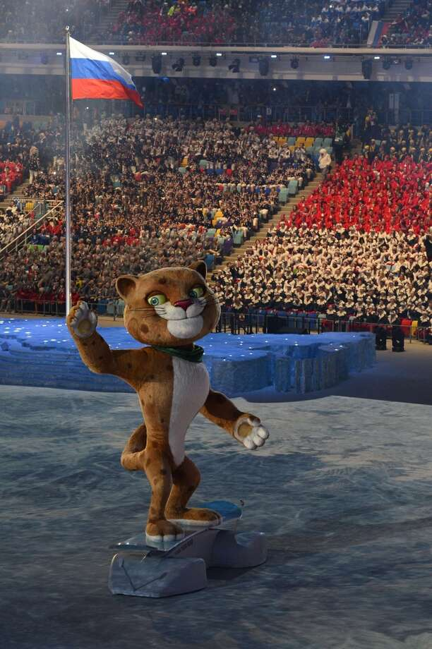 The Leopard, one of three Sochi Winter Olympic games official mascots, performs during the Opening Ceremony of the Sochi Winter Olympics at the Fisht Olympic Stadium on February 7, 2014 in Sochi. Photo: JONATHAN NACKSTRAND, AFP/Getty Images