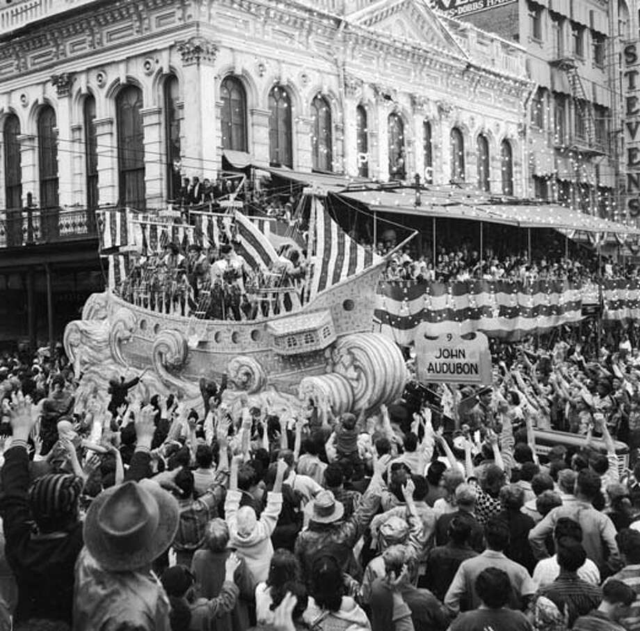 A float celebrating the life of John James Audubon (1785 - 1851), an American naturalist, ornithologist and artist at the New Orleans Mardi Gras in Louisiana circa 1956. Photo: Three Lions, Getty Images / Hulton Archive