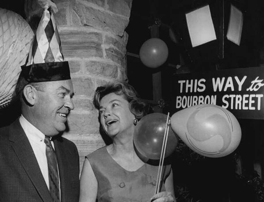 Mardi Gras even made its way up to Colorado. Dr. and Mrs. George Masten follow the signs to the fun during the Mardi Gras Ball at Cherry Hills Country Club near Denver, Colorado in February 1963. Photo: Duane Howell, Denver Post Via Getty Images / (C) 2010 The Denver Post, MediaNews Group