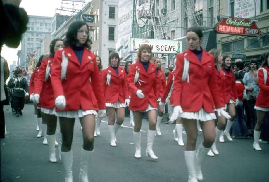 View of uniformed majorettes as they march during the Mardi Gras parade in New Orleans, Louisiana in February 1973. Photo: Tim Boxer, Getty Images / Archive Photos