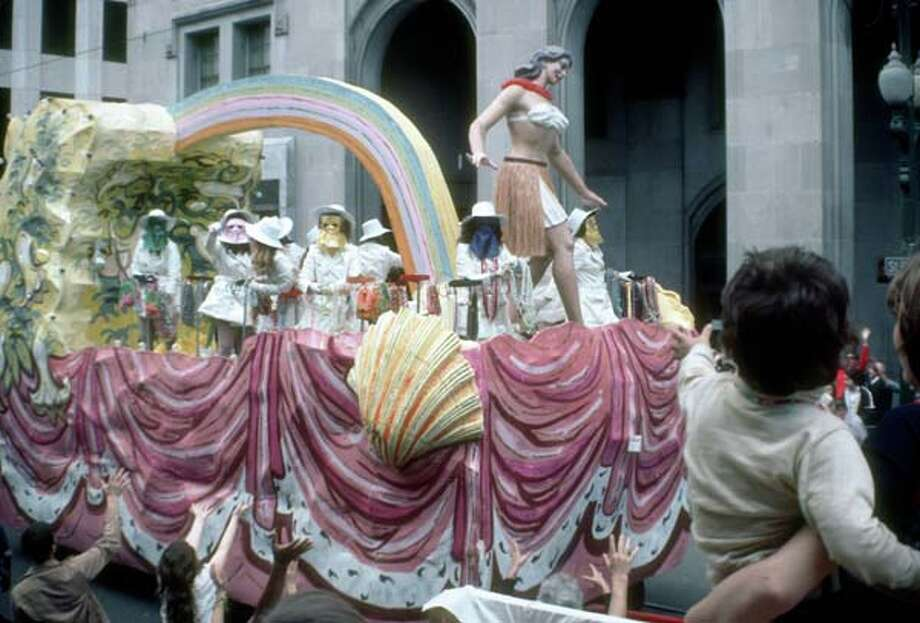 View of a float in the Mardi Gras parade during the Mardi Gras parade in New Orleans, Louisiana in February 1973. Photo: Tim Boxer, Getty Images / Archive Photos