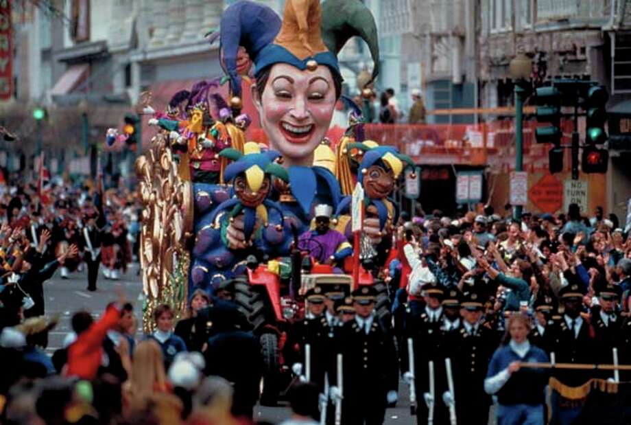 A court jester-theme float rides by during the Mardi Gras parade in 1994. Photo: Bevil Knapp, Time & Life Pictures/Getty Image / Bevil Knapp