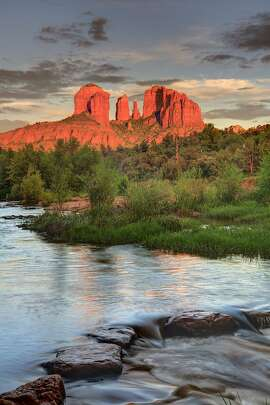Cathedral Rock glowing at sunset in Sedona, Arizona. USA, Arizona, Sedona, Cathedral Rock glowing at sunset
