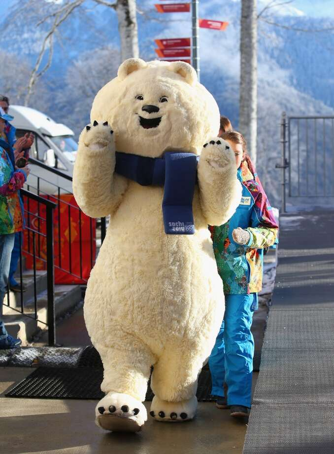One of the Sochi 2014 mascots is seen in the Athletes Village ahead of the Sochi 2014 Winter Olympics on February 2, 2014 in Rosa Khutor, Sochi. Photo: Julian Finney, Getty Images