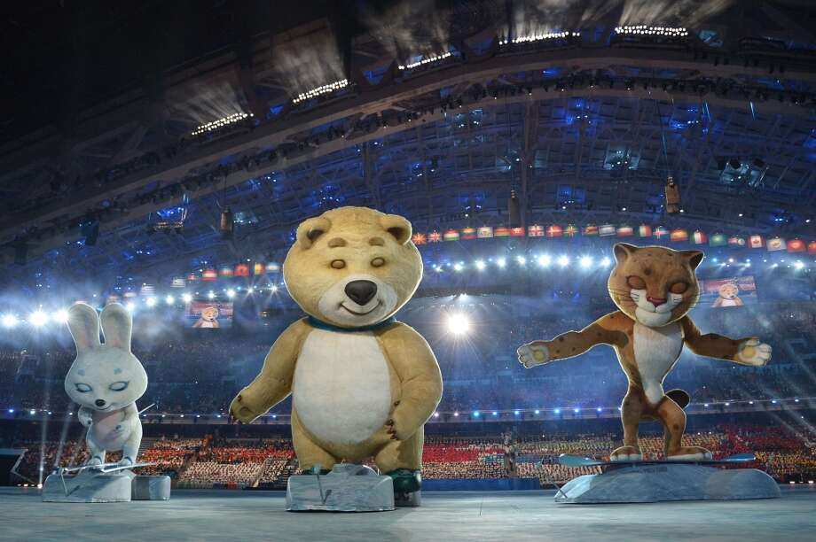 The 2014 Sochi Winter Olympics official mascots, the Leopard, the Polar Bear, and the Hare take part in the Opening Ceremony of the Sochi Winter Olympics at the Fisht Olympic Stadium on February 7, 2014 in Sochi. Photo: ALBERTO PIZZOLI, AFP/Getty Images