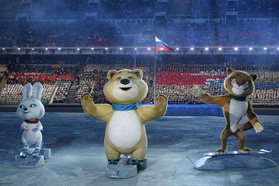 The Sochi Winter Olympic games official mascots, the Leopard, the Polar Bear, and the Hare, perform during the Opening Ceremony of the Sochi Winter Olympics at the Fisht Olympic Stadium on February 7, 2014 in Sochi. Photo: LIONEL BONAVENTURE, AFP/Getty Images