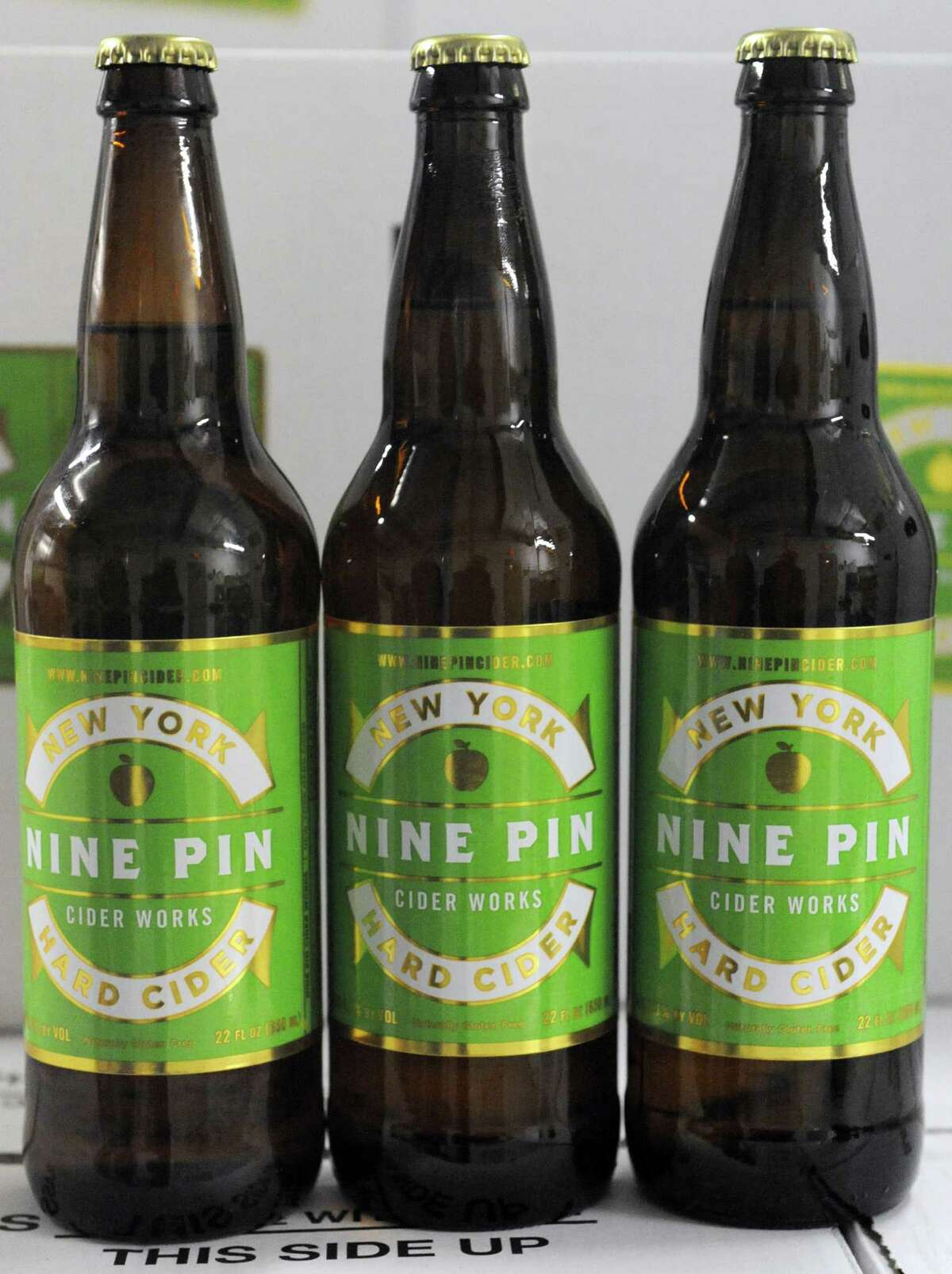 Bottles of Nine Pin Cider on Friday Feb. 14, 2014 in Albany, N.Y. (Michael P. Farrell/Times Union)