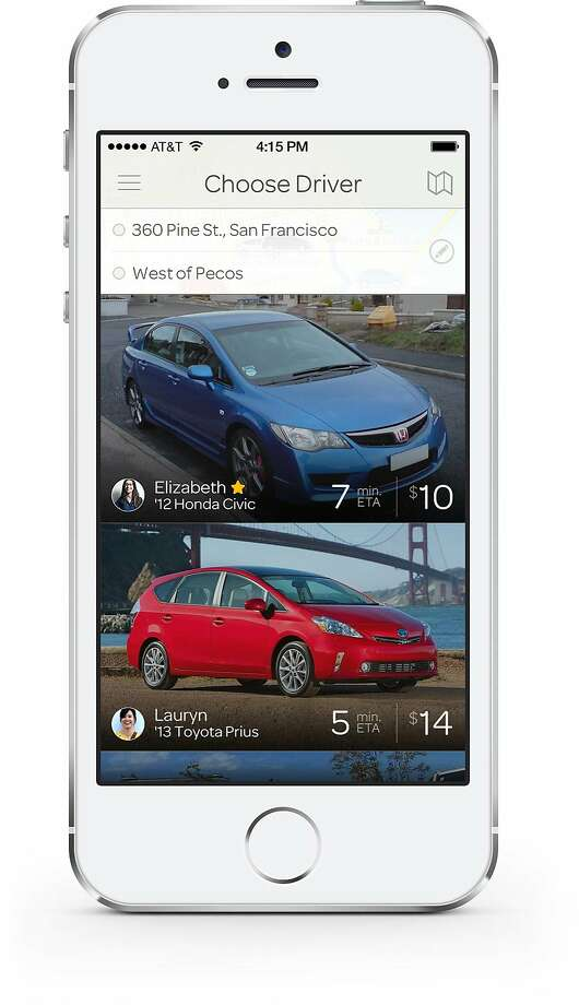 Sidecar's new marketplace model, lets passengers shop for rides, viewing information on the drivers' ratings, type of cars, pricing and current location. Drivers will be able to set their own prices and tweak their profiles with new photos, for instance, to compete for riders. Photo: Sidecar