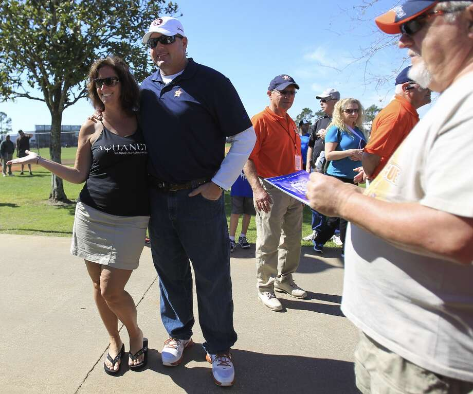 Roger Clemens gets his photo taken with Houston Astros fan, Mitch Molesky during workouts. Photo: Karen Warren, Houston Chronicle