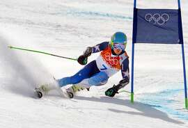 Feb 19, 2014; Krasnaya Polyana, RUSSIA; Ted Ligety (USA) on his first run in the giant slalom during the Sochi 2014 Olympic Winter Games at Rosa Khutor Alpine Center. Mandatory Credit: Paul Bussi-USA TODAY Sports