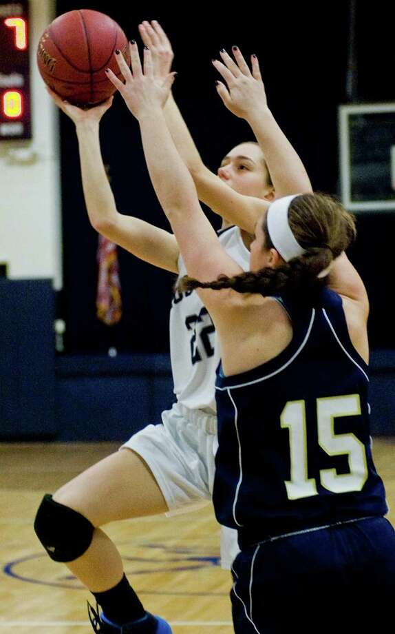 Immaculate High School's Danielle Cerrone goes up for a shot in a game against Lauralton Hall High School, played at Immaculate. Wednesday, Feb. 19, 2014 Photo: Scott Mullin / The News-Times Freelance