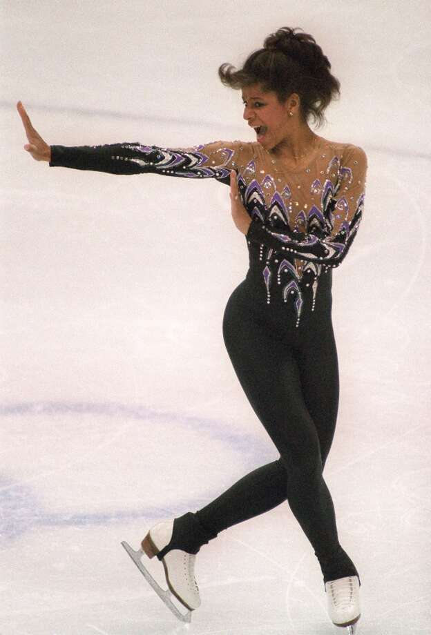 NEITHER BEST NOR WORST: American figure skater Debi Thomas, a Stanford student at the time of the Calgary Olympics in 1988, created a scandal by appearing in a unitard on ice. Unitards were banned for many years, until the ban was lifted recently. Photo: MARK CARDWELL, AFP/Getty Images