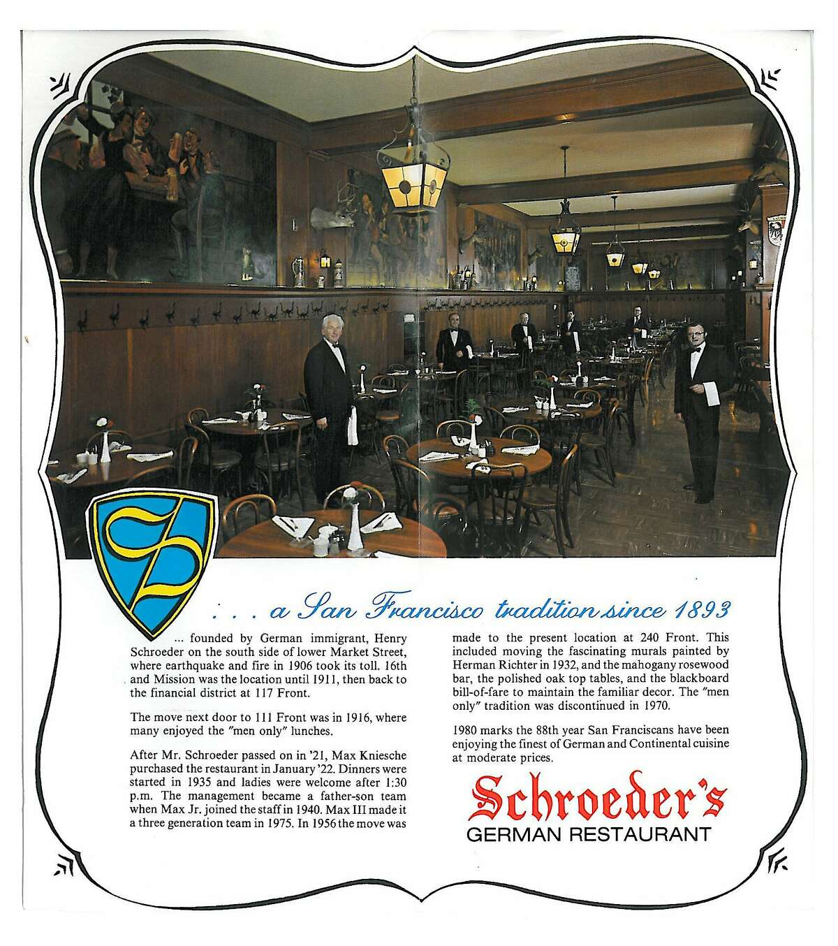 The brochure for Schroeder's Restaurant shows it as the classic it is.