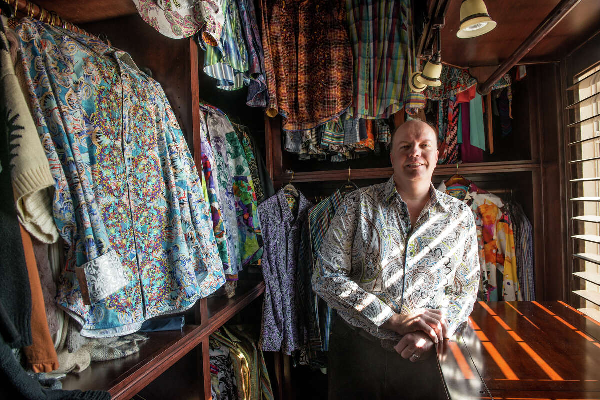 Darren Harding of New Braunfels with his Robert Graham shirts.