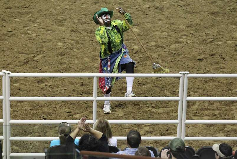 Bullfighter Leon Coffee entertains the crowd at the 2014 San Antonio Stockshow and Rodeo on Wednesda