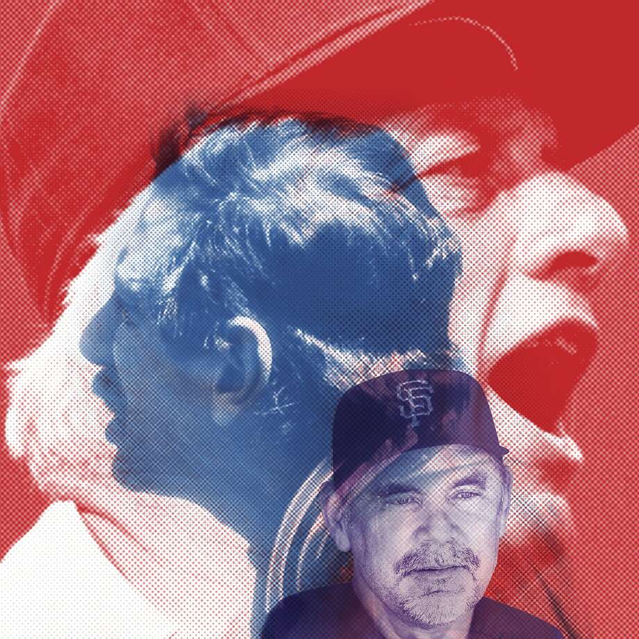 Bruce Bochy (front) takes a more fatherly approach than battlin' Billy Martin or tempestuous Tommy Lasorda. Photo: Erick Wong, The Chronicle
