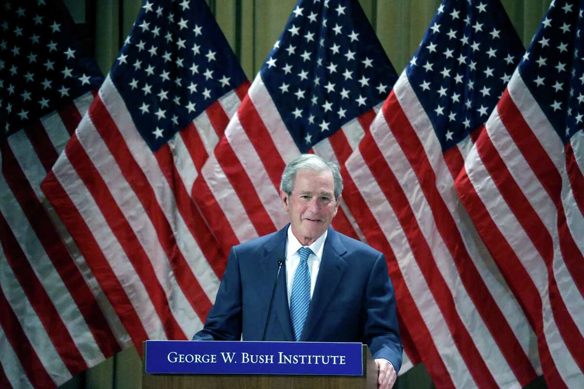 Former President George W. Bush speaks during a summit titled