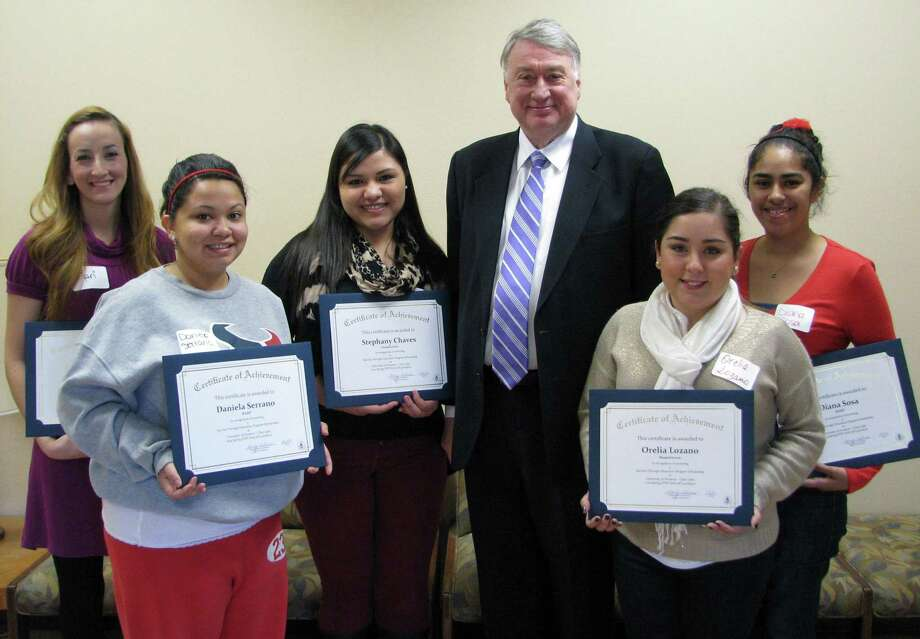 The UH-Clear Lake's School of Education recently recognized recipients of its STEP scholarships. Shown with school dean Dennis W. Spuck are, from left, Mari Martinez, Daniela Serrano, Stephany Chaves, Orelia Lozano and Diana Sosa. Photo: Contributed Photo
