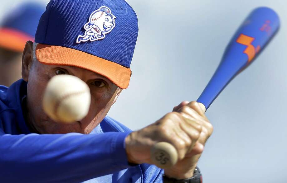 New York Mets manager Terry Collins hits grounders during spring training baseball practice Wednesday, Feb. 19, 2014, in Port St. Lucie, Fla. (AP Photo/Jeff Roberson) Photo: Jeff Roberson, Associated Press