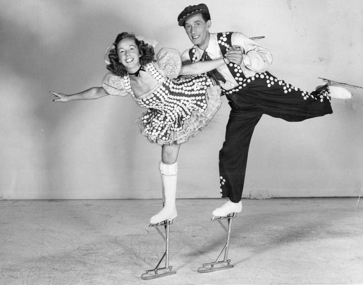 Ice Follies, Bay Area 1936 to 1979 This traveling variety show on ice wowed Bay Area audiences with its precisely performed 'Chorus Line'-style kick line. Pictured: Phyllis and Harris Legg on skate stilts in the Ice Follies of 1948. The Leggs performed with the Follies for 16 years and later opening a popular skate rink on Market Street that was home ice for Dorothy Hamill.